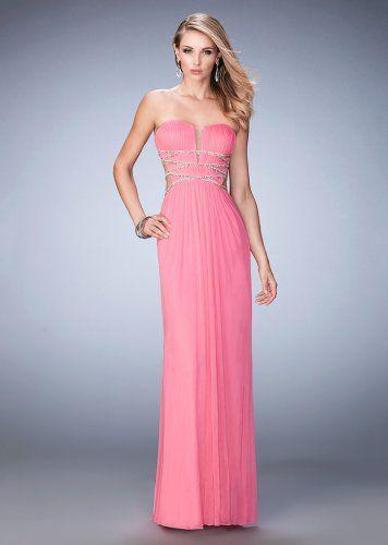 Cheap La Femme 22465 Flirty V-Cut Plunging Strapless Prom Dress ...
