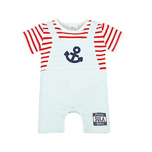 020f8ecaa8 Bebone Baby Kid Navy Stripe Cotton Romper Red36M     To view further for  this item