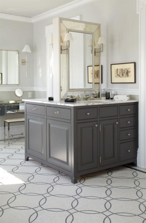 .: Sided Vanity, Floor, Vanities, Bathroom Ideas, Sink, Master Bath, Double Sided, Bathroom Cabinets