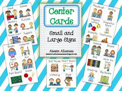Center Cards: Small & Large Signs (free as of this pin; from Mrs. Albanese's Kindergarten Class)
