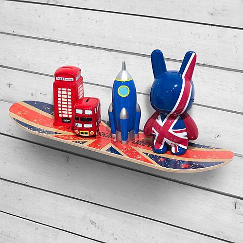 Skate - Étagères de chambre d'enfants-Meubles pour chambre enfant Étagère en forme de skate motif drapeau anglais