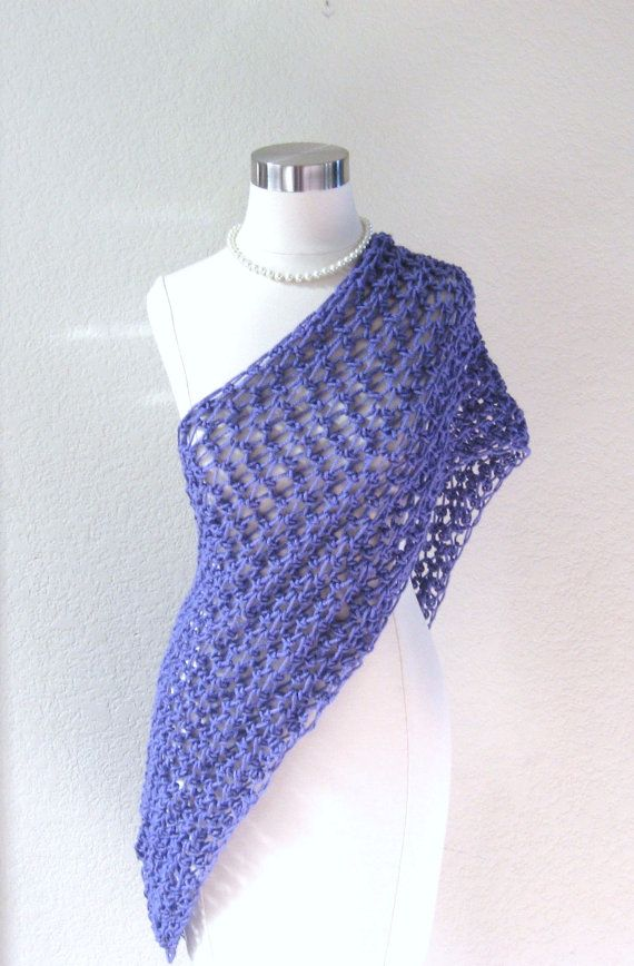 PURPLE SCARF Spring Summer SHAWL Fashion Crochet by marianavail 25  Summer Scarves Knit Crochet