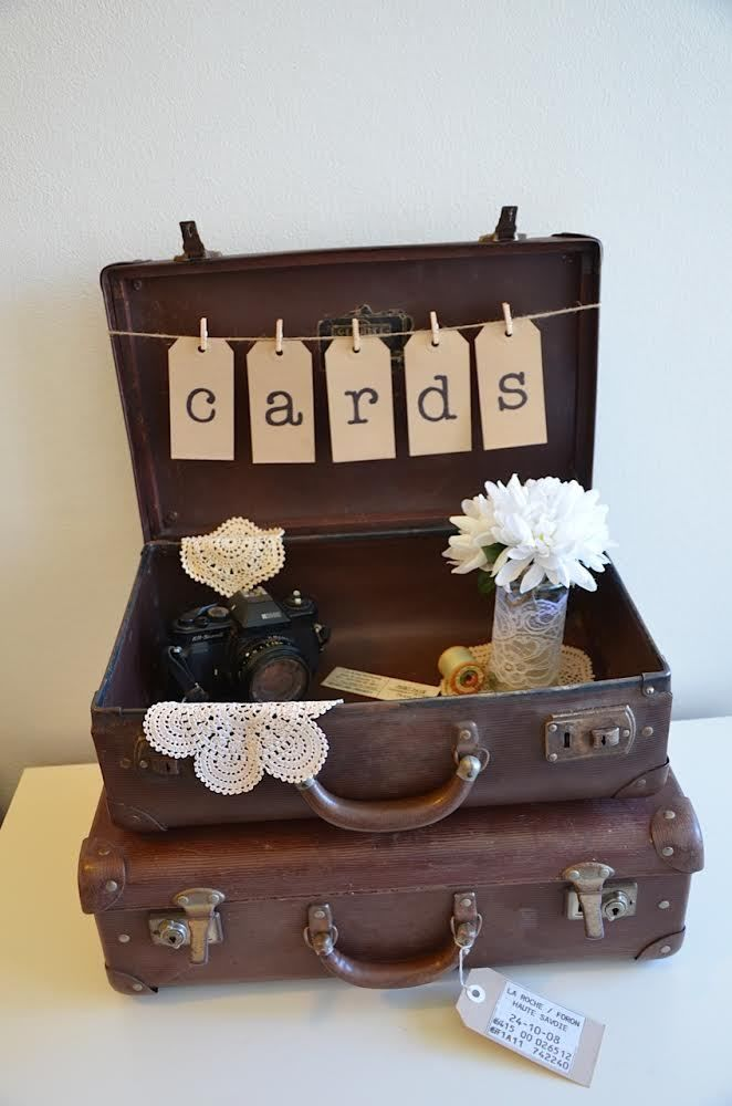 Vintage Suitcase Wishing Well Package Doily Bunting Wedding Jars CAN POST #6