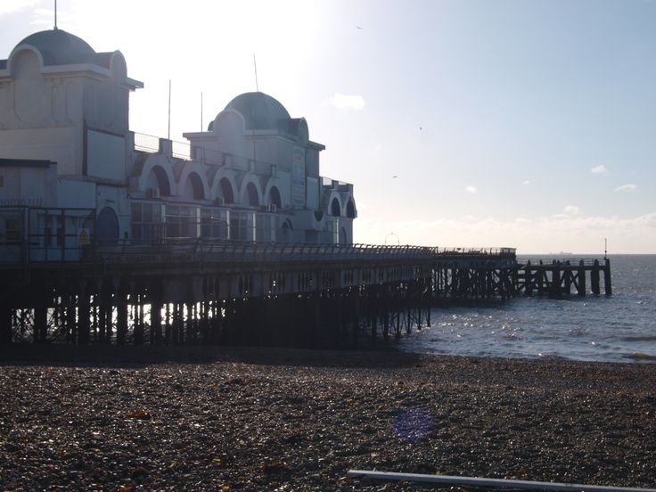 I like how in this photo, because of the location of the sun, it produces a bright background and casts a strong shadow in front of the pier - South Parade Pier, Portsmouth.
