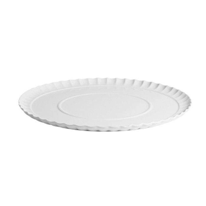 Plato extragrande con ondas de porcelana fina blanco