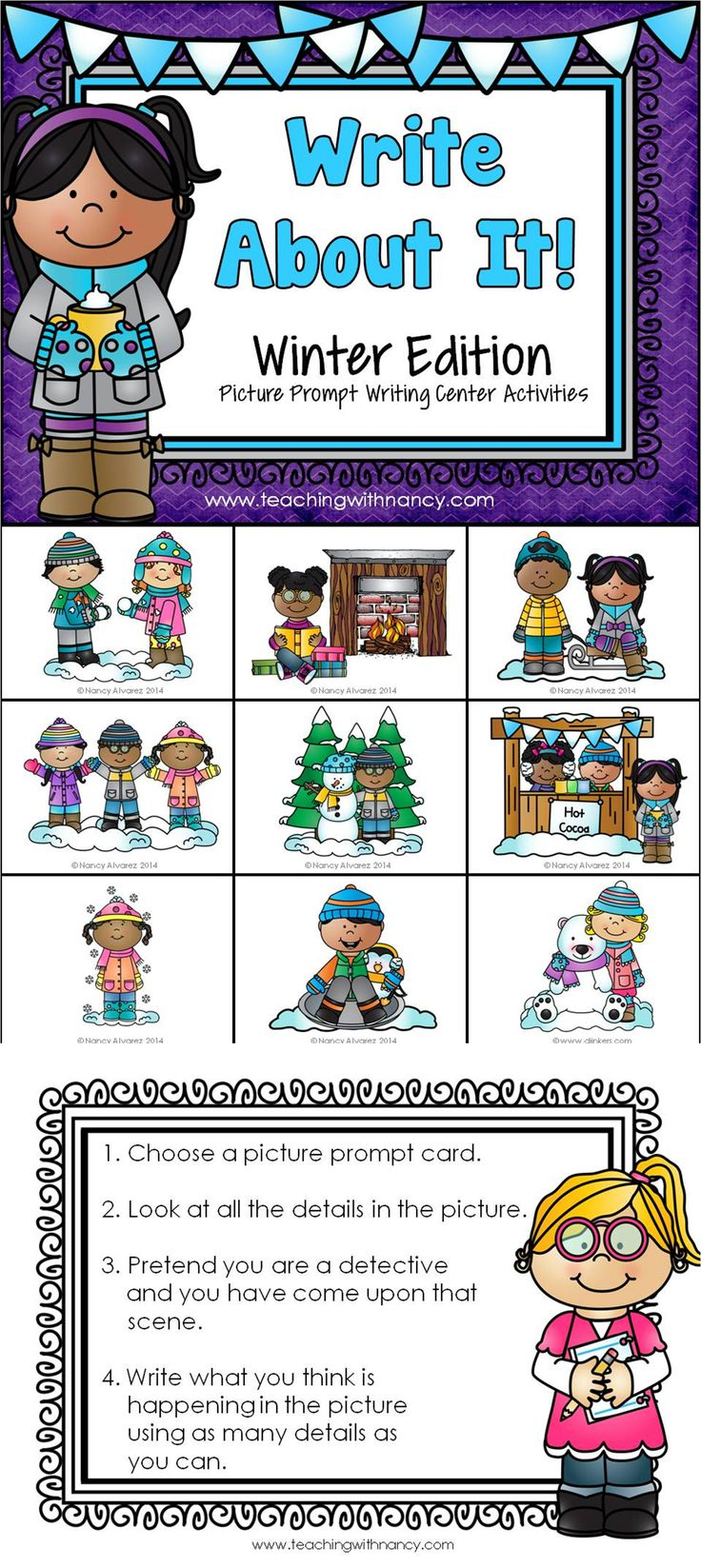 ***  FREE DOWNLOAD  *** Winter Writing Station perfect for writer's workshop or Daily 5.  These writing activities are ideal for Kindergarten to 2nd Grade and are perfect for LEP students.