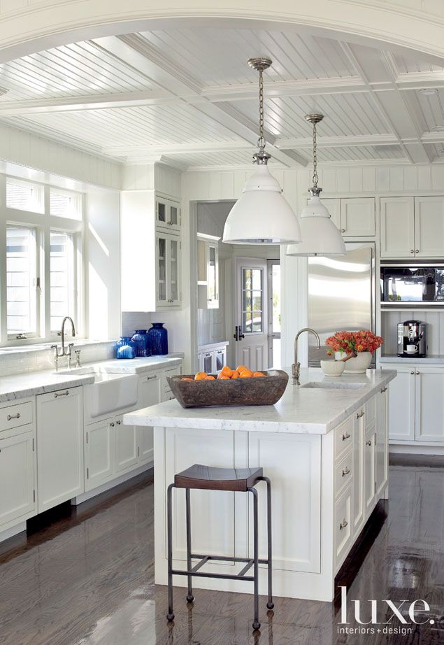 Kitchen-  2 inches honed Carrara marble countertops - New Jersey Home Beach Haven