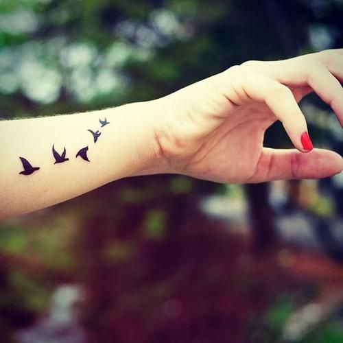 :), bird, birds, birds tattoo, black, dream, fashion, fly, fly away, forever young, freedom, hipster, photography, red nails, tattoo, tattoo girl, yolo, you only live once, young