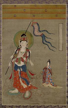Avalokitesvara as a guide of souls, ink and colours on silk: Woman being led to Amitabha (the Buddhist paradise) by the bodhisattava Avalokitesvara - from Mogao, near Dunhuang, Gansu province, China, Five Dynasties or Northern Song Dynasty, 10th century AD