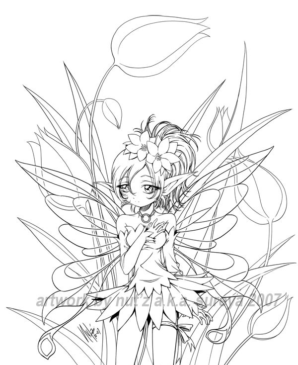 anime fairy coloring pages - photo#22