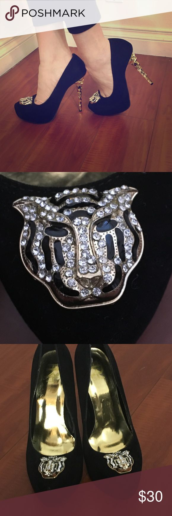 ✨💕✨ BLACK VELVET RHINESTONE ACCENT LION HEAD 👠 Designer inspired rhinestone accented lion head on upper front, smooth velvet upper, almond toe shape with gold geometric shape heel. Cushioned insole for comfort. Easy slip on and off style. Heel measures at 5.25 inches tall with a 1.25 inch platform. New without tag and box. Shoes Heels