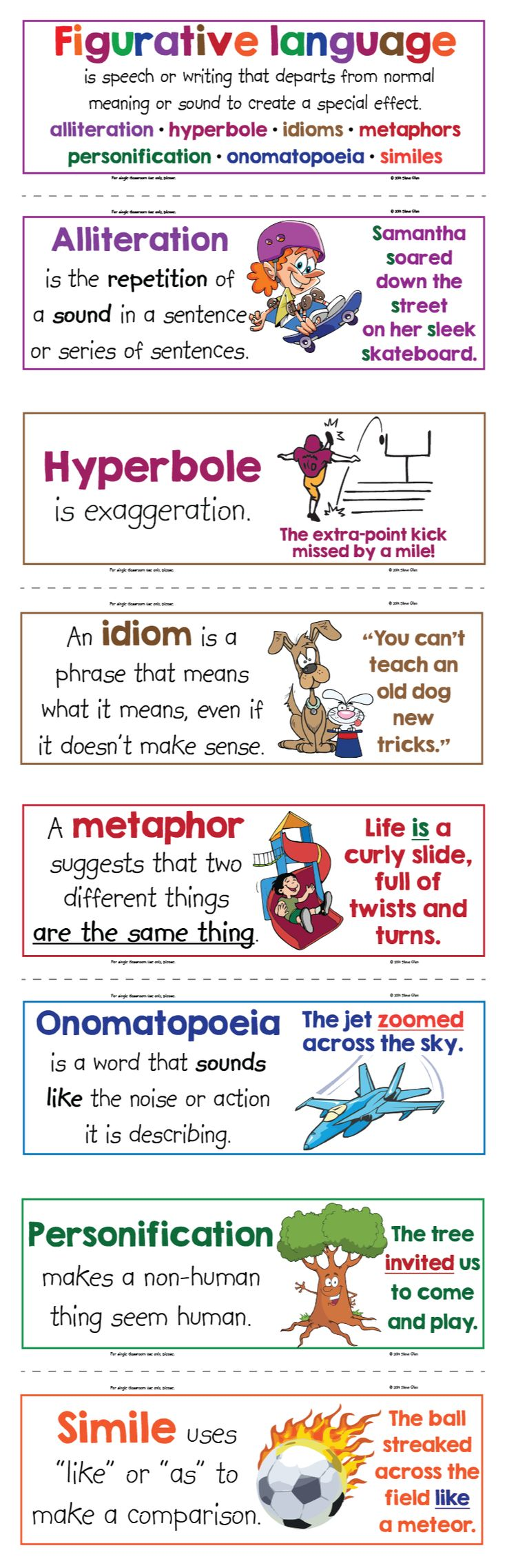 Free! Figurative language anchor word wall cards. Hyperbole, personification, alliteration, metaphor, simile, idioms, & more. For a quick, spontaneous ELA writing activity, I like to attach a few of these to the white board, give the students post-its, an instruct them to write an example of each and stick it on the board near the corresponding poster. If time permits, after every student has at least one on the board, they go get a random one and evaluate it.