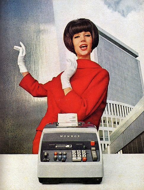 Can you say Mad Men? (1964 magazine ad for Monroe adding machines... love it.)