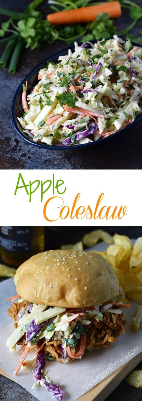 Sweet, tangy, and crunchy Apple Coleslaw that adds the perfect finishing touch to chicken and pork sandwiches | cookingwithcurls.com