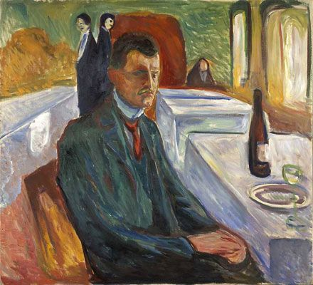Edvard Munch - Self-portrait with bottle of wine, 1906.  Oil on canvas.