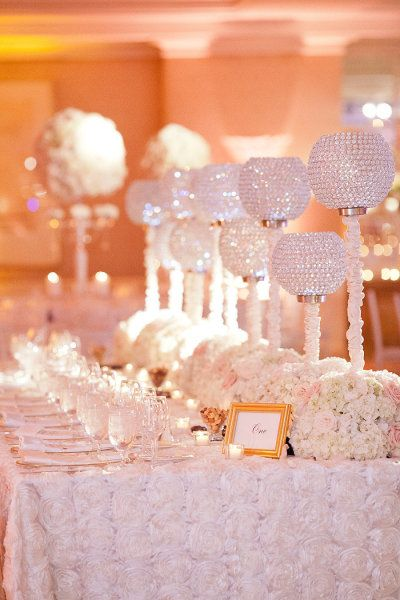 Beautiful, sparkling white tablescape sets the tone for this wedding reception @Four Seasons Resort Palm Beach