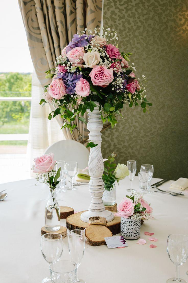 Cream & pink vintage chic floral arrangements