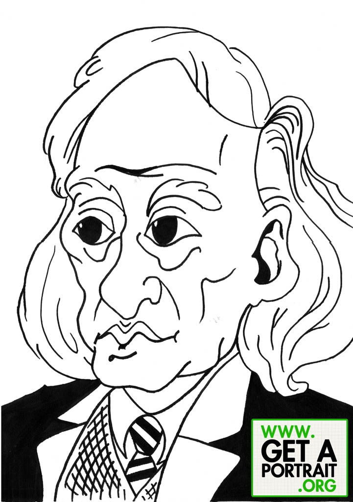 Caricature of Grigore Vieru, Romanian writer — Get a high quality PORTRAIT or CARICATURE from a pro, for an unbeatable price! http://GetAPortrait.org