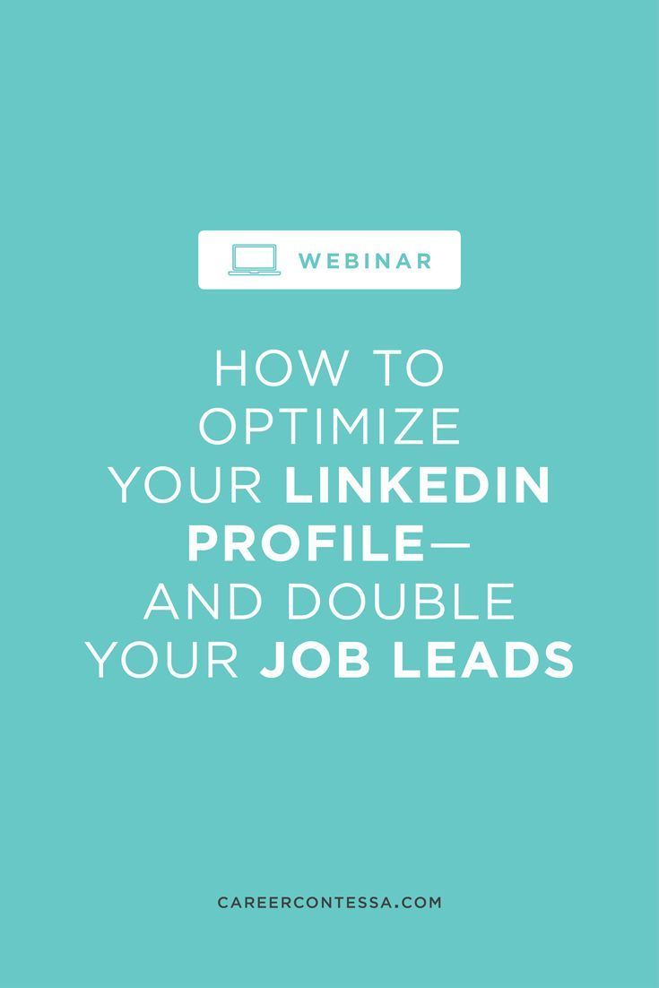 Watch the replay of one of our most popular webinars: How to optimize your LinkedIn profile and double your job leads. | Career Contessa