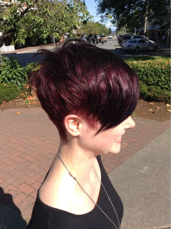 Courtney at Sin 7 Salon created his lush red violet pixie.