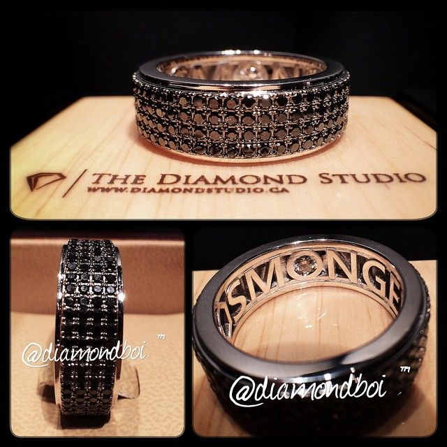 Stunning Here is another sick white gold and black gold wedding band This band features rows of black diamonds that go all around On the inside I personalized