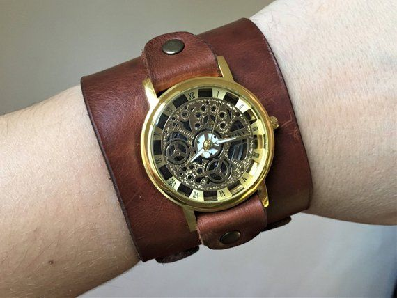 Steampunk Wrist Watch Leather Watch Skeleton Watch Leather Etsy Leather Watch Cuff Watch Engraving Watches For Men