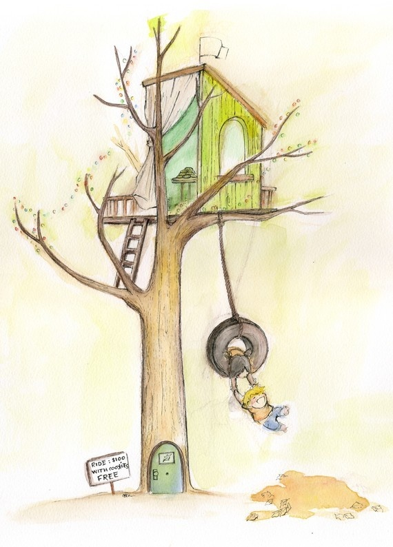 Kids House Drawing: Image Of Swinging From The Treehouse - Print