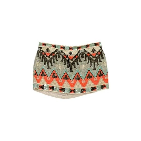 Pre-owned All Saints MultiColor Sequined Aztec Print Mini Skirt ($99) ❤ liked on Polyvore featuring skirts, mini skirts, multi, aztec print mini skirt, brown skirt, short mini skirts, aztec sequin mini skirt and short sequin skirt