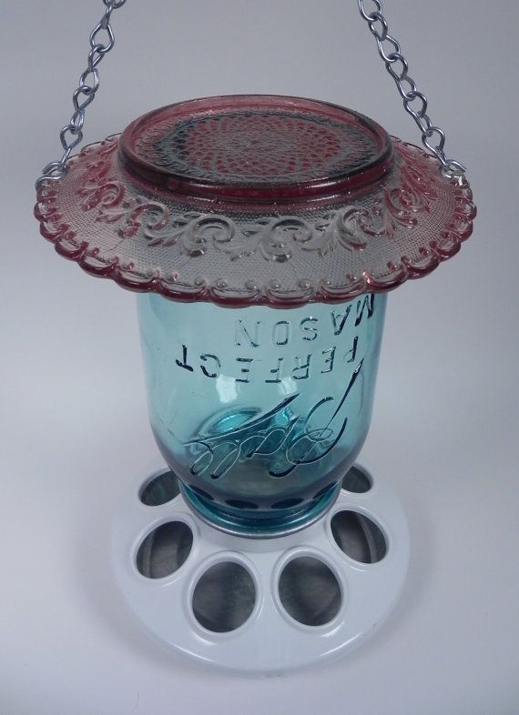 mason jar bird feeder from LouluMac on etsy