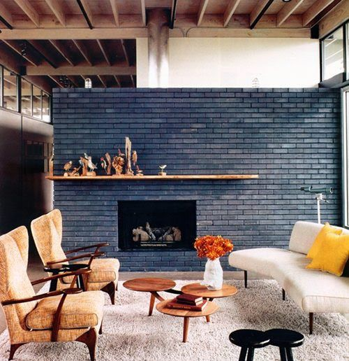 stained brick fireplace