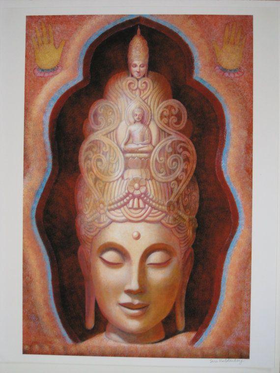 Bouddha Kwan Yin spirituelle affiche d'art d'impression par HalstenbergStudio