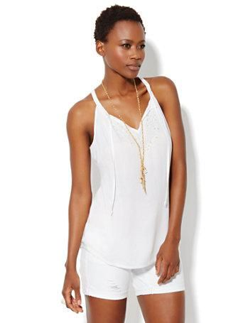 Floral-Embroidered Halter Top #newyorkandcompany http://www.peninsulatowncenter.com/Tenants/New-York-and-Company#.U4X1v43VC1A