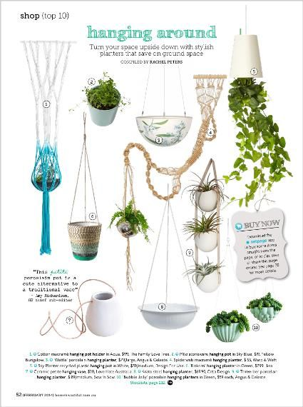 Shop: Top 10. Hanging planters. Clipped from Home Beautiful using Netpage.