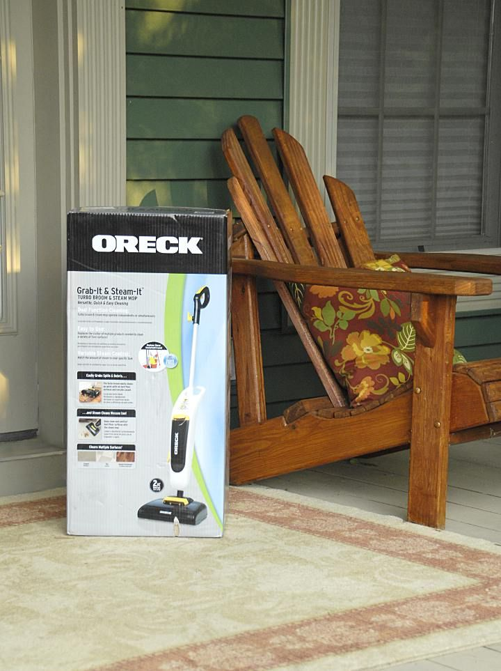 This is Oreck's Grab-It & Steam-It turbo broom and steam mop and, let me tell you, it is a multitasking workhorse.