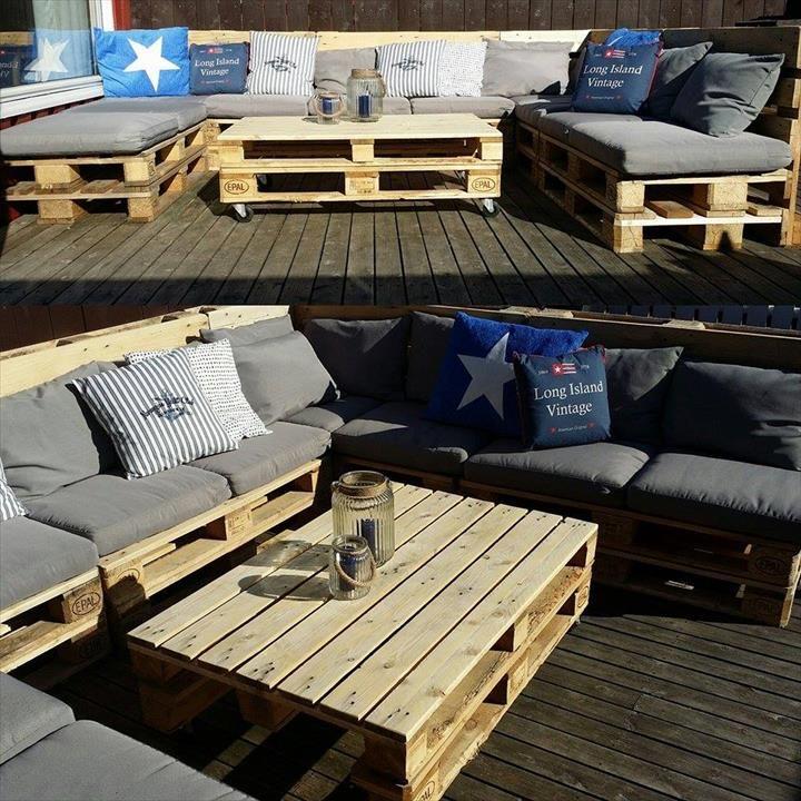 Pallet U-Shape Patio #Sofa with Table | 101 Pallet Ideas