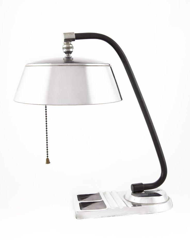 """1930's Art Deco desk lamp, chrome plated, perfect representation of the Art Deco Style. Condition: Very good vintage, appropriate signs of wear Materials: Chrome and black enamel Dimensions: 13.5"""" H x"""