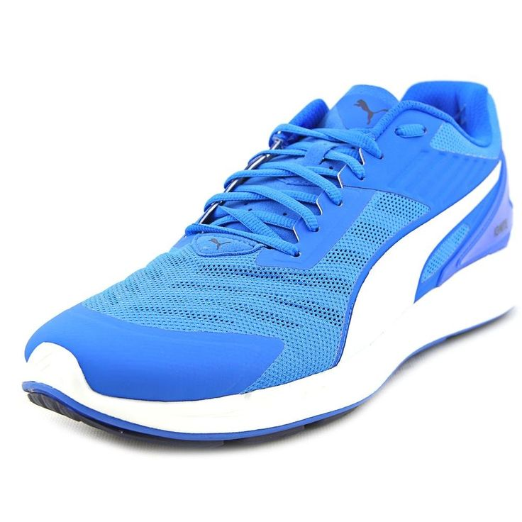 PUMA Men's Ignite V2 Running Shoe, Electric Blue Lemonade, 10.5 M US. High-rebound running shoe featuring breathable mesh upper with lace-up vamp and contrasting Formstrip at sides. Forever Foam-integrated heel.
