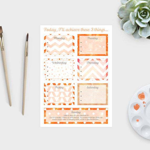 To do list printable - 6 day orange watercolour patterned A4 weekly priority to do list. Weekly goals planner by Amber Phillips Design