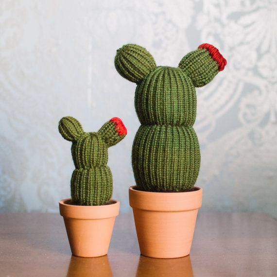 Knitted Cactus in a Pot - Curvy and Flowering - handmade plant, home and office decoration, adorable fake plant, toy plush cactus, Amigurumi
