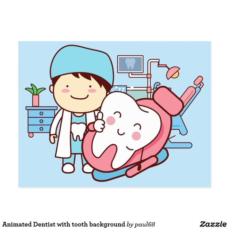 Animated Dentist With Tooth Background Postcard Zazzle