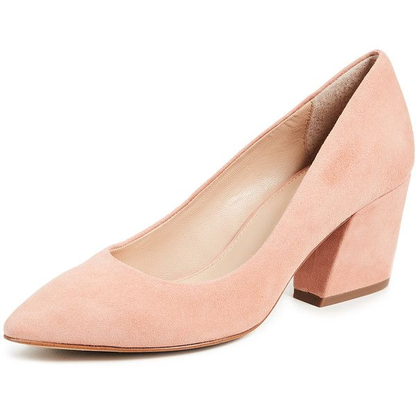 Botkier Stella Block Heel Pumps (€105) ❤ liked on Polyvore featuring shoes, pumps, soft peach, pointed toe shoes, chunky-heel pumps, chunky heel shoes, peach pumps and suede shoes