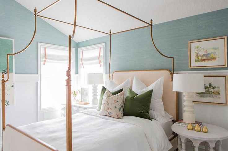Beautiful bedroom features upper walls clad in Thibaut Shang Extra Fine Sisal Mineral Wallpaper ...