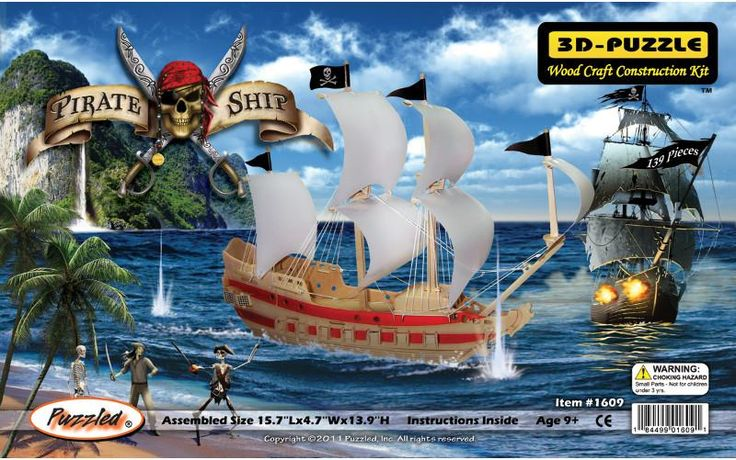 3d jigsaw puzzle 139 pieces-pirate ship