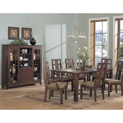 84543 Somerton Enchantment Dining Table Set In Natural Walnut 7 Piece