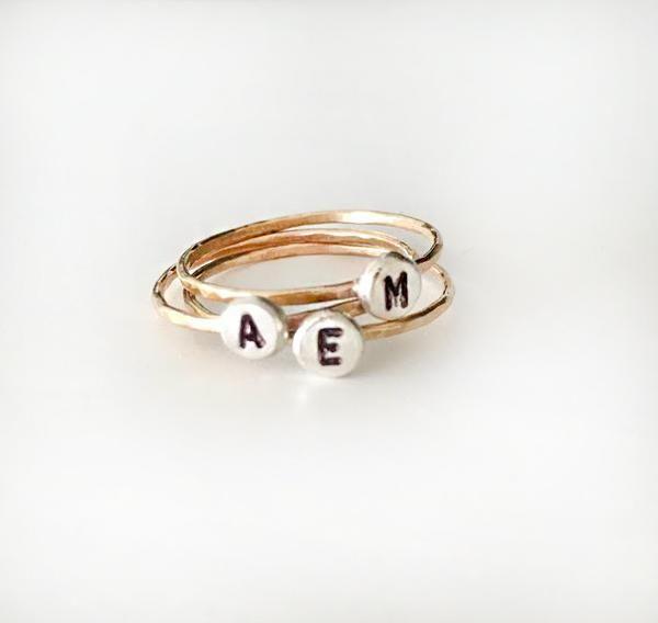 Ring met Letter, Initialen ring, Alfabet ringen