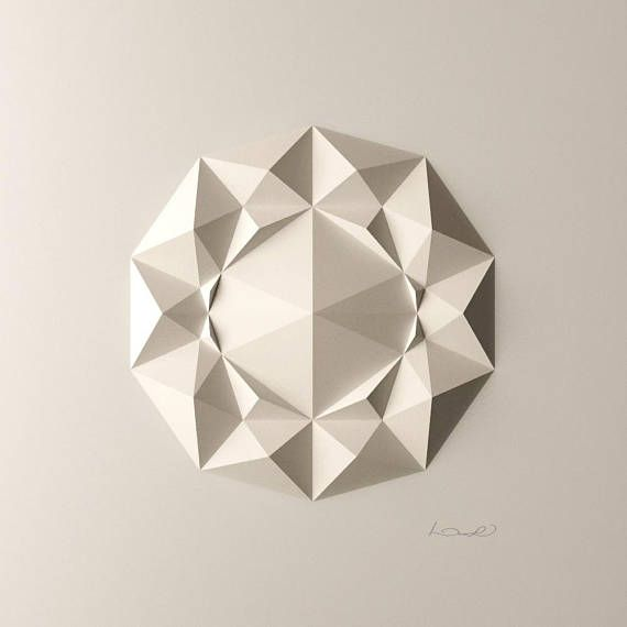Geometric Wall Decoration  Art Relief  Folded Paper Crystals - DodecaF1 available on Etsy.