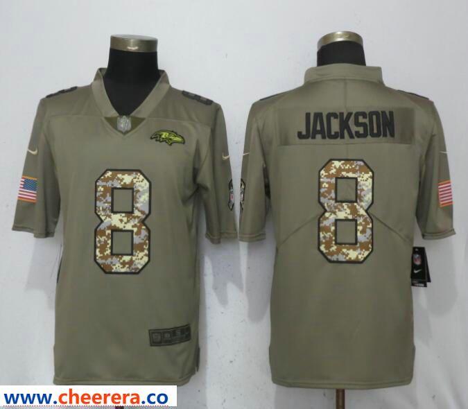 sports shoes b74d2 efe2d Nike Ravens 8 Lamar Jackson Olive Camo Salute to Service ...
