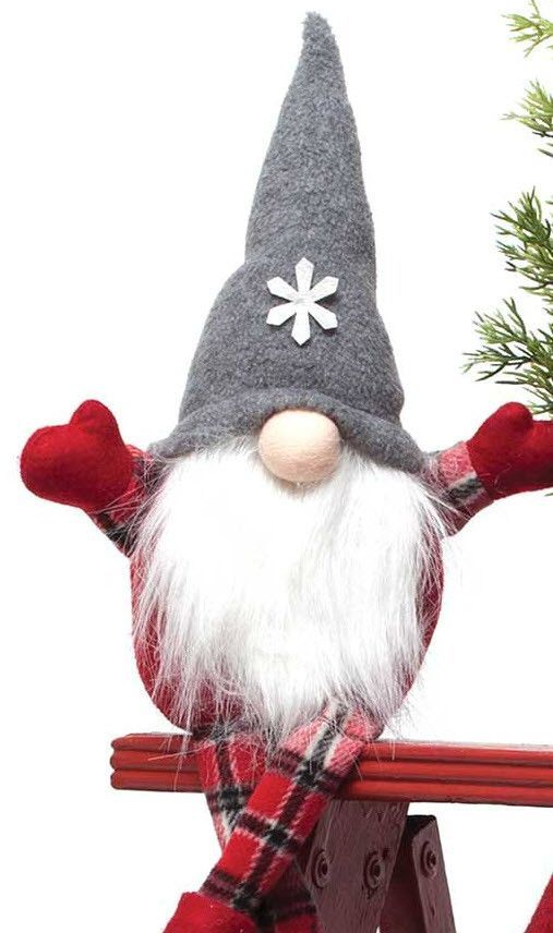 "The popular gnomes have arrived and these would make a great addition to your Christmas decor. Available in grey or red hat. Measures 4"" X 17""."
