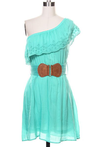 Teal One Shoulder Dress with Matching Leather Belt. Cute bridesmade dress for a country themed wedding