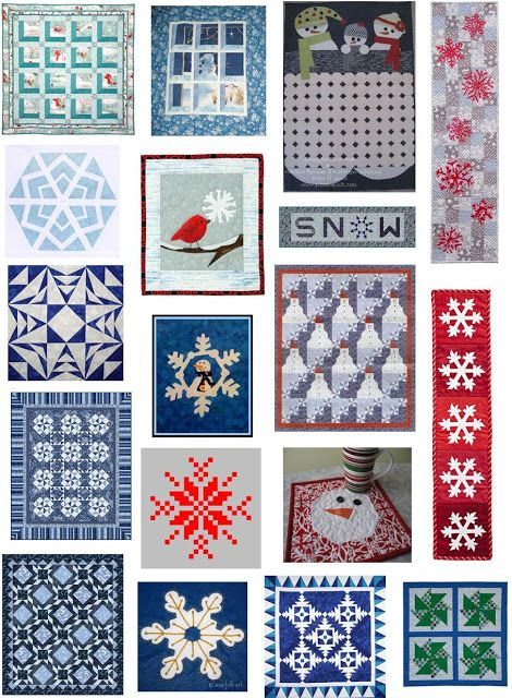 Quilt Inspiration: Free pattern day: Snowmen and snowflakes - table runners, wall hangings, and ...